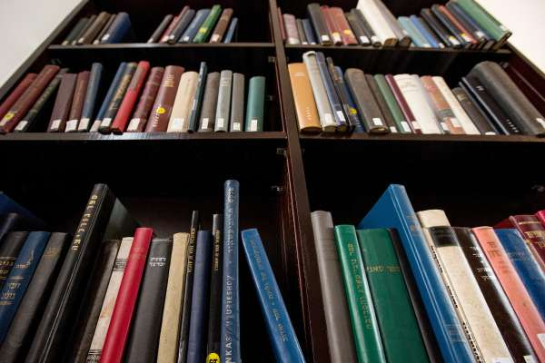 Shelf of books in the Judaica Suite