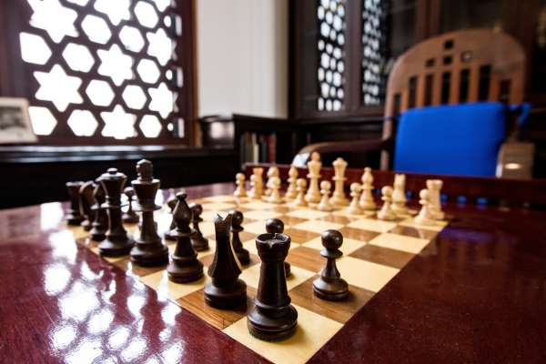 Chess table in the Judaica Suite